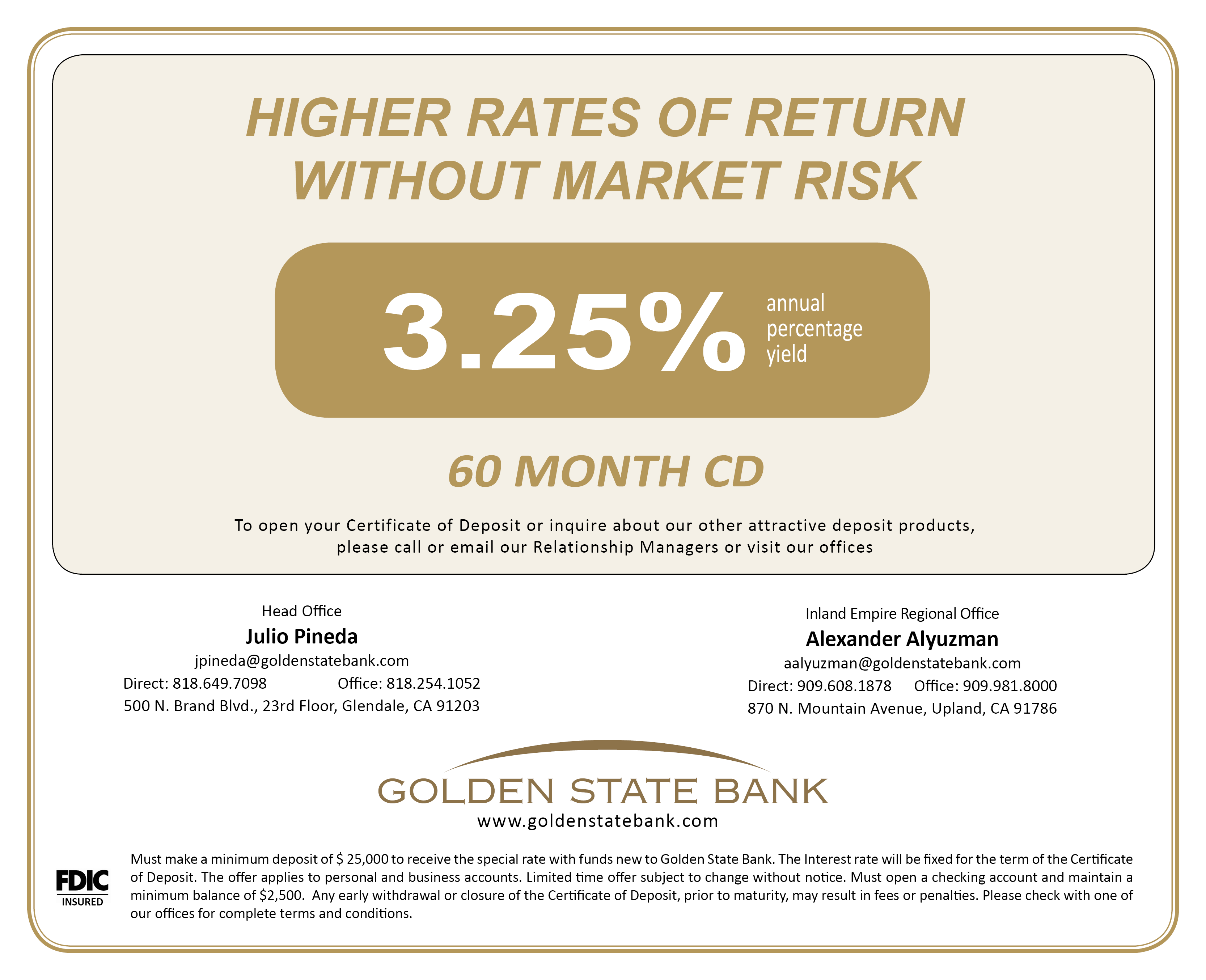 Higher Rate 60 Month Cd At 325 Annual Percentage Yield