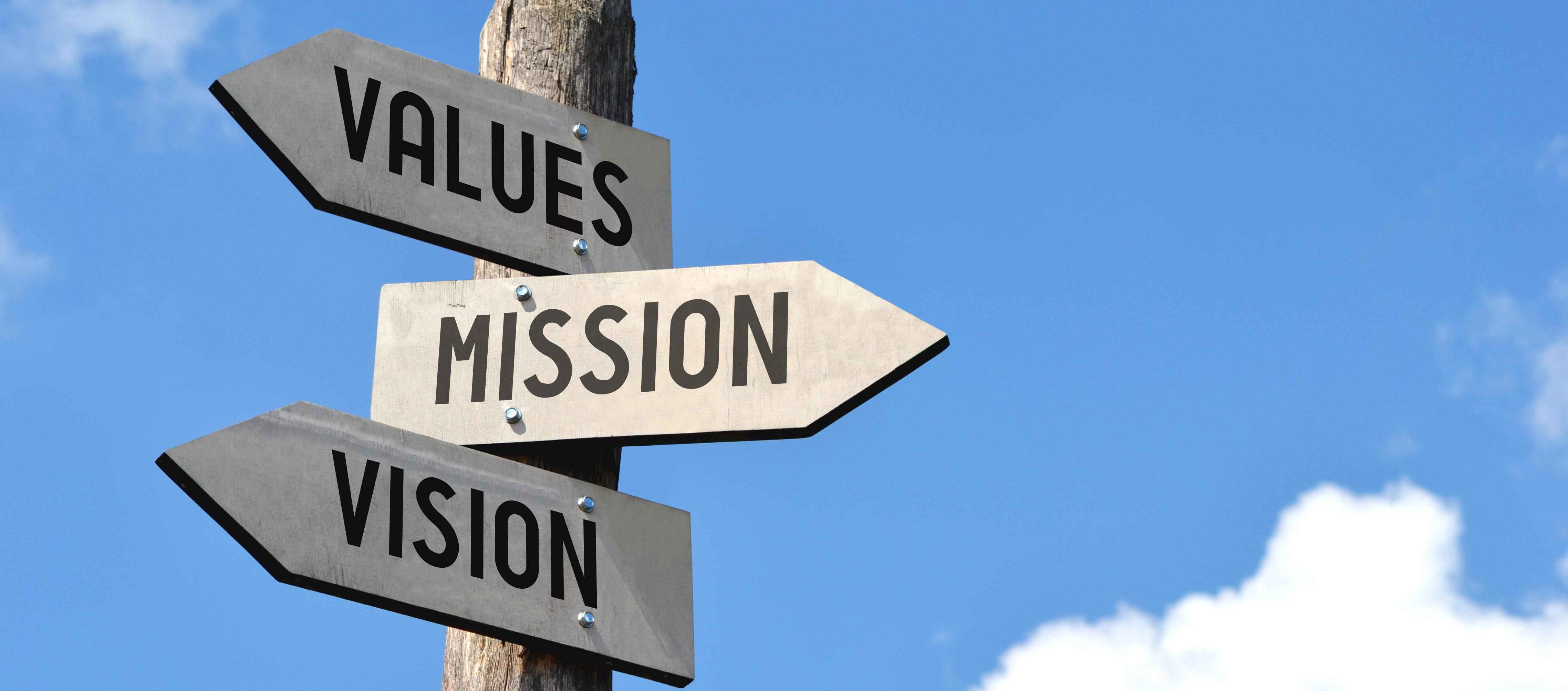 Values, Mission and Vision signs.